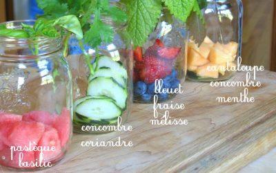 Eaux vitaminées fruitées faites maison